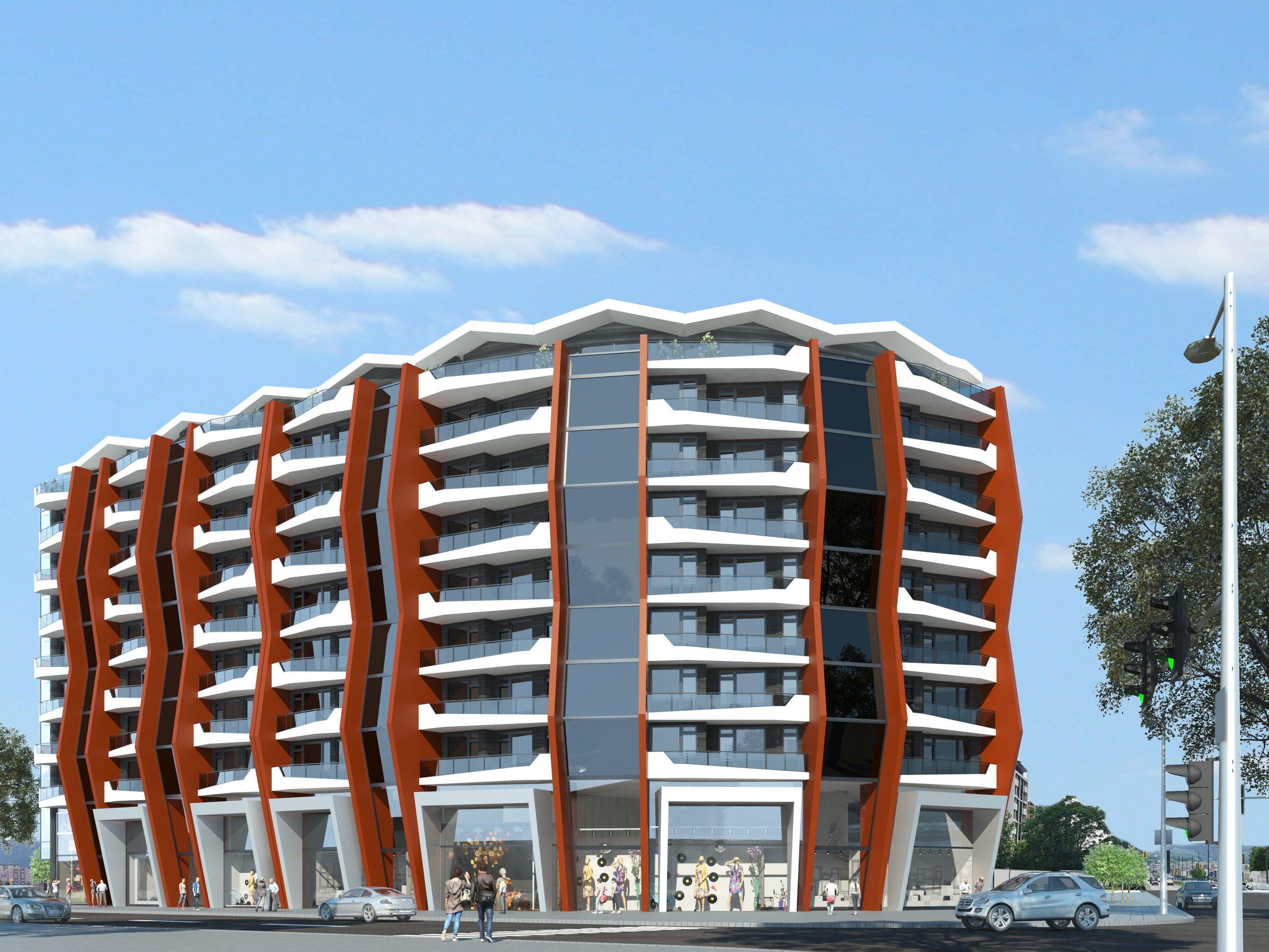 Жилищна сграда в Кърджали с търговски площи и подземни гаражи